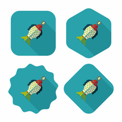 Chinese New Year flat icon with long shadow,eps, Chinese fish lu