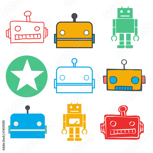 canvas print picture Vector of Technology Automatic Robot System Concept