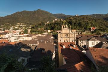 aerial view of Bellinzona town in Switzerland