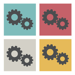 Vector of Flat Design Setting Setup Gear Icon Concept