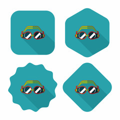 swimming goggles flat icon with long shadow,eps10
