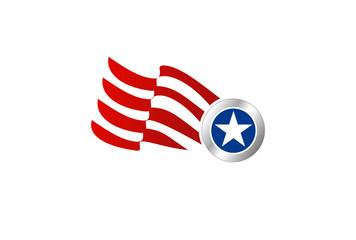 american flag and star shield vector logo