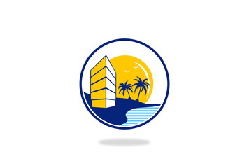 beach hotel vector logo