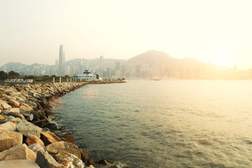seacoast with cityscape background in hong kong