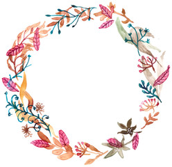 Watercolor floral frame, colorful natural illustration