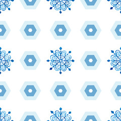 Watercolor snowflakes seamless pattern