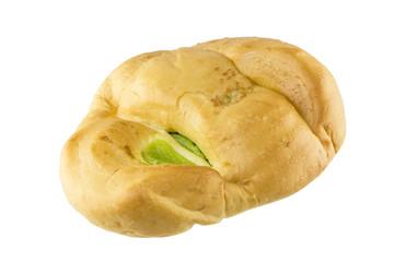 bread and pandan custard on white background