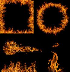 set of orange flame elements collection on black