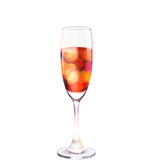 vibrant bokeh in champagne glass on isolated background