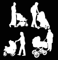 four women and carriages silhouettes isolated on black