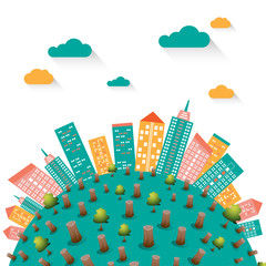 Global warming with cityscape illustration