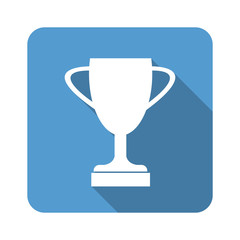 Trophy Cup Flat Icon with Long Shadow vector illustration