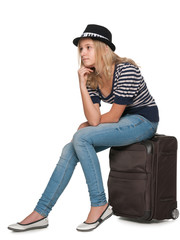 Pensive pretty traveler