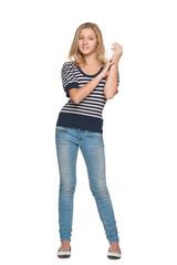 Smiling teen girl against the white