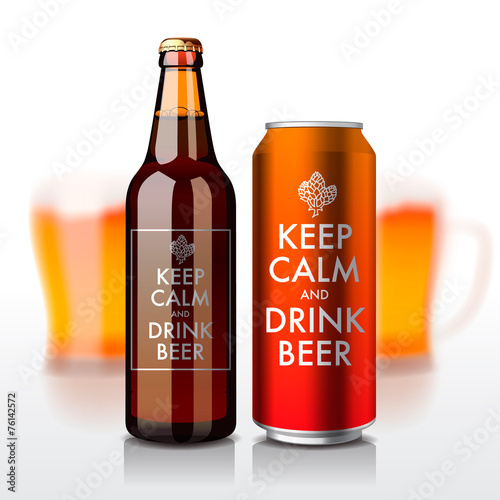 Beer bottle and can with label - Keep Calm and drink beer - 76142572