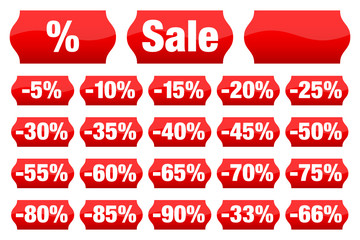 """Price Tags Collection """"Sale"""" Minus Red"""
