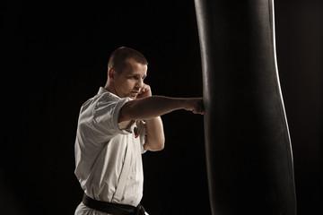 Karate kick in a punching bag