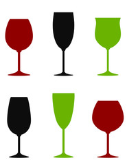 colorful wine glasses set