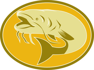 Catfish Fish Oval Retro