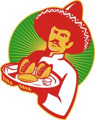 Mexican Chef Serving Taco Burrito Empanada Retro