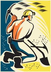 Coal Miner Mining Digging Pick Ax Retro