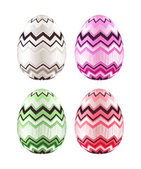 Set of colorful Easter eggs decorated with zigzag.