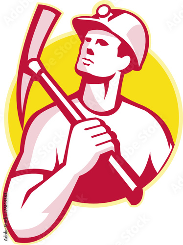 Coal Miner With Pick Axe Looking Up Retro - 76143363