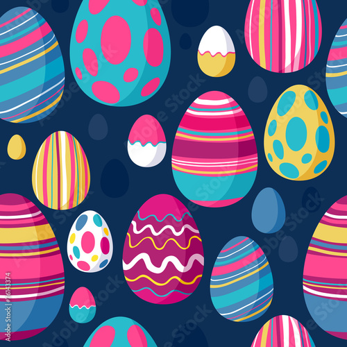 Cotton fabric Seamless colorful easter eggs pattern. Blue back.