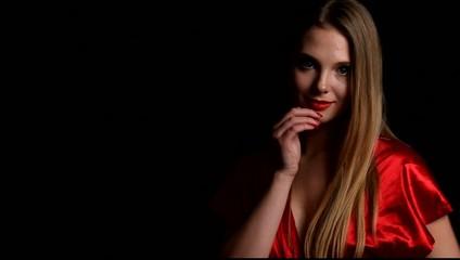 Gorgeous slim girl in red underwear