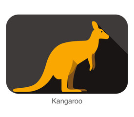 Kangaroo animal walking flat icon design