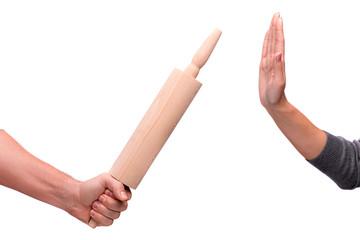 Rolling pin passing between hands