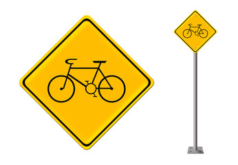 Warning traffic sign bicycle