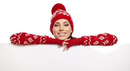 Winter girl happy smile hold sale poster, attractive young excit