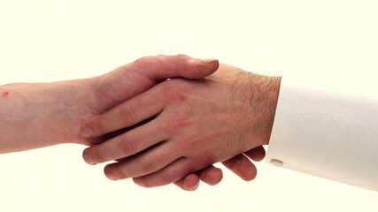 Handshake closeup - stop motion animation
