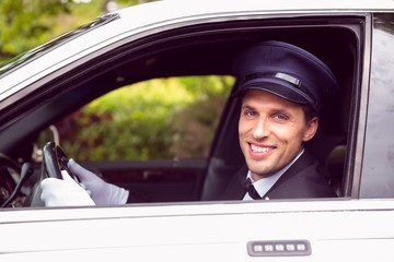 Limousine driver smiling at camera