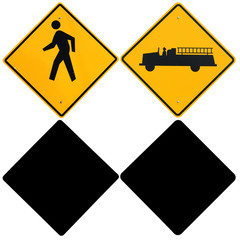 Signs: Pedestrian and Fire Truck Warning Signs with Alpha Channe