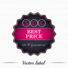 Best price guaranteed vector sale label with currency symbol