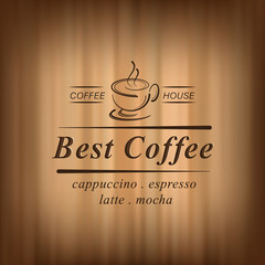 Best coffee vector background with coffee cup, coffee house