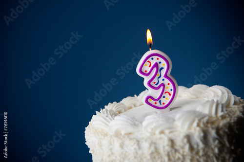 Cake: Birthday Cake With Candles For 3rd Birthday - 76146110