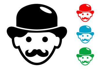 Pictograma icono hombre con bombin en varios colores