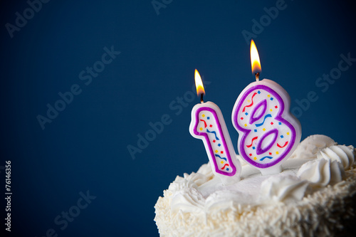 Fototapeta Cake: Birthday Cake With Candles For 18th Birthday