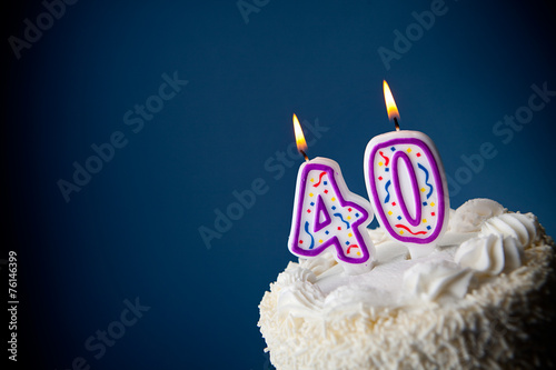 Cake: Birthday Cake With Candles For 40th Birthday - 76146399