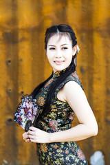 Chinese woman back dress traditional cheongsam
