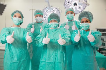 Medical students in operating theater
