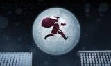 Santa Claus jumping between rooftops at night