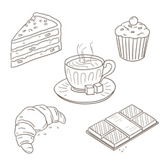 Collection Of Dessert Illustrations In Sketch Style