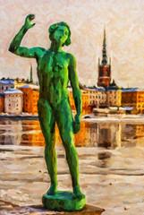 Stockholm Statue Digital Painting