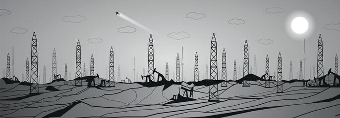 Petroleum panorama, industrial, power, lines design