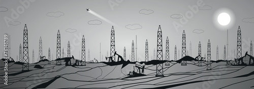 Petroleum panorama, industrial, power, lines design