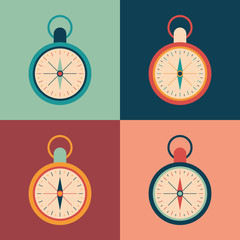 Colorful set of retro compasses.
